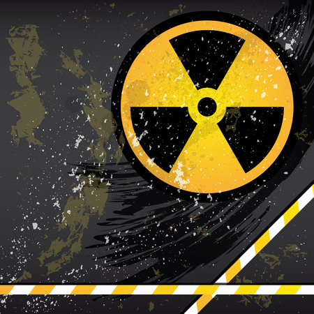 atom bomb: Eps10 Abstract grunge background with the emblem of radiation.