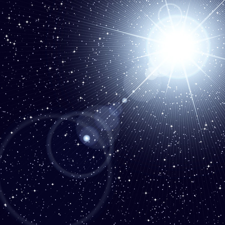 astral: Bright star shining in the starry cosmos. Illustration