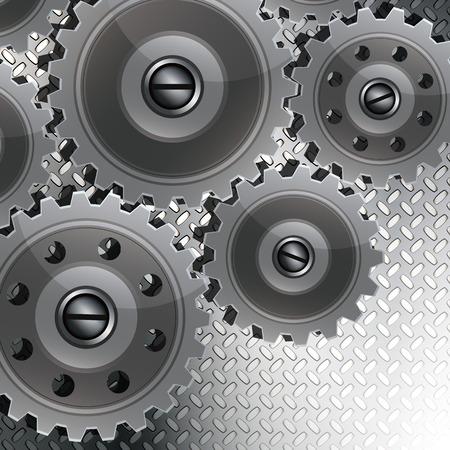 Abstrakt Techno Hintergrund mit Metallgetriebe auf eine geriffelte Textur. Das Konzept der Teamarbeit, Tech, etc. Design.