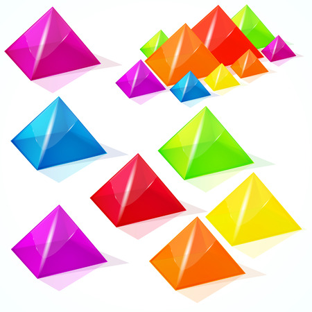 paperweight: Abstract vector pyramids. Illustration