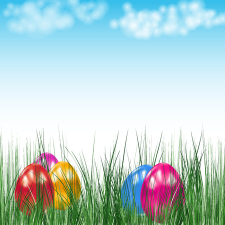 Background with Easter eggs. Vector image. Stock Vector - 9088857
