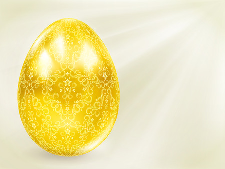 Golden egg in the rays. Vector