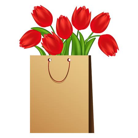 Vektor-Illustration der rote Tulpen. Verlaufsgitter.