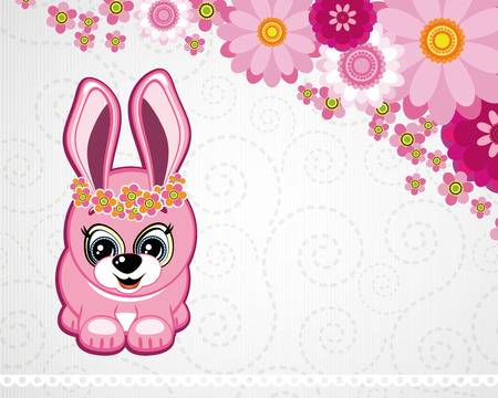 Easter greeting card the rabbit. Vector