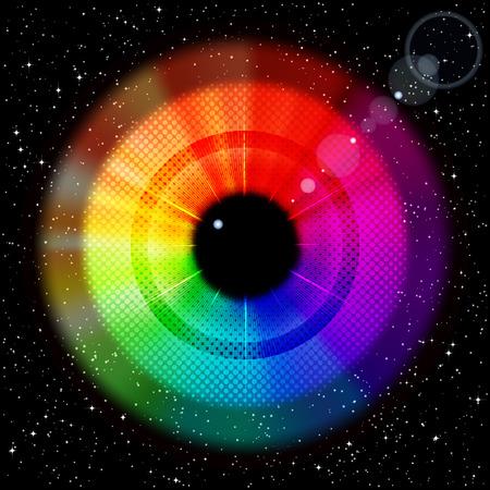 cielo estrellado: Cielo estrellado con arco iris iris y alumno.