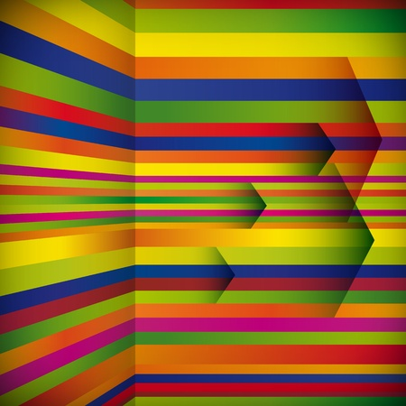 striped background with the arrows. Vector