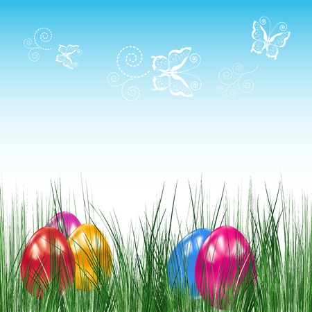 Background with Easter eggs. Stock Vector - 9143362