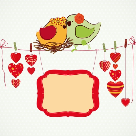Couple of birdies, hearts on the clothespin and a banner for your text. Stock Vector - 9143437