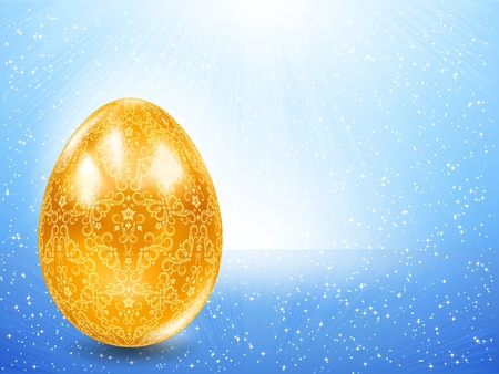 Golden egg on a background of blue rays. Vector