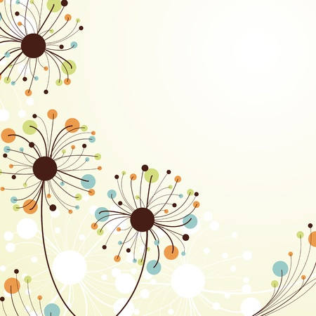 yellowed: Retro abstract floral backdrop.