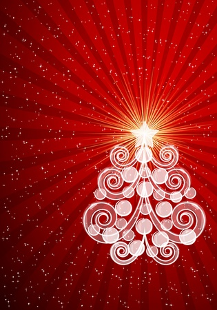 Red Christmas card with swirls tree and balls. Vector