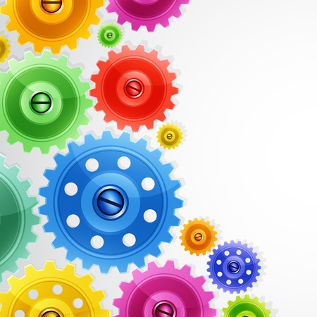 Techno background with colorful gears. Industrial image. Stock Vector - 9216540