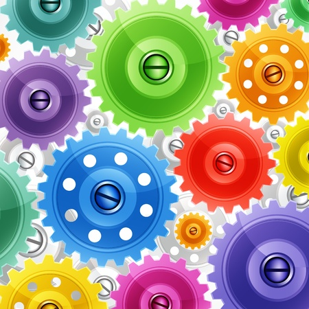 Techno background with colorful gears. Industrial image. Stock Vector - 9250945
