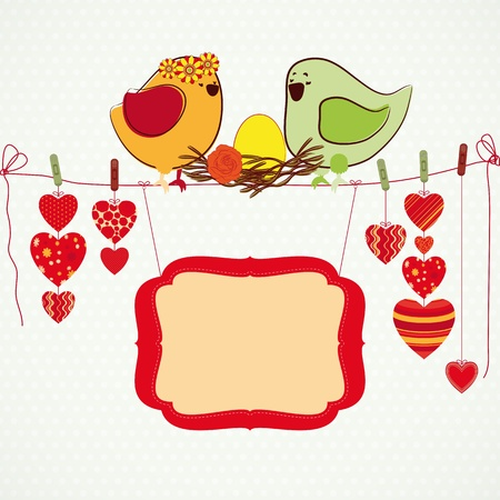 Couple of birdies, hearts on the clothespin and a banner for your text. Stock Vector - 9285104