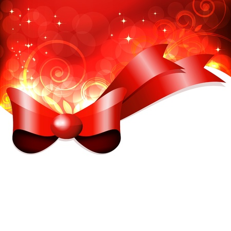 Red gift bow with floral curl. Vector Stock Vector - 9285118