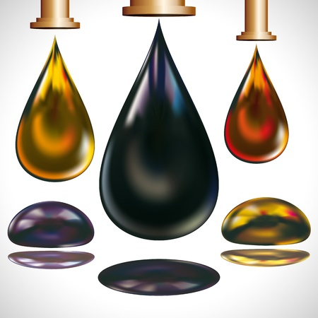 нефтяной: Large drops of oil dripping from the faucets.