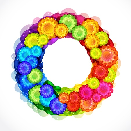 Abstract flower wreath frame. Vector background. Vector