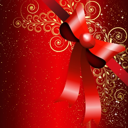Red gift bow with floral curl Vector