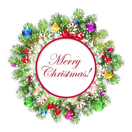 Christmas wreath with snow-covered branches of Christmas tree. Vector