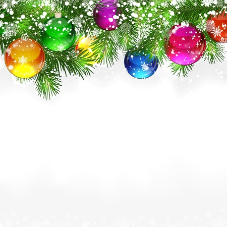 Christmas background with snow-covered branches of Christmas tree Vector