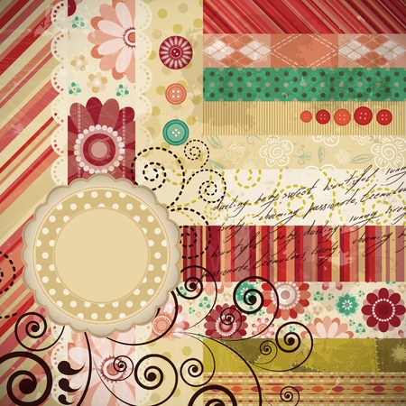bribe: Scrap fond fait dans la technique patchwork classique avec des timbres floraux et des textes d'�criture.