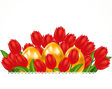 Scarlet tulips and Easter eggs. Easter card. Stock Vector - 9416477