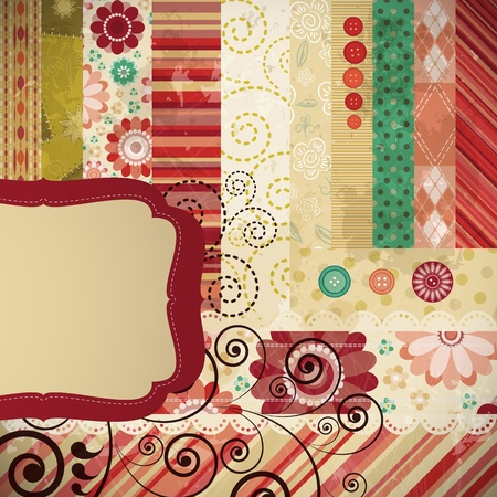Scrap background made in the classic patchwork technique with floral stamps. Stock Vector - 9451936
