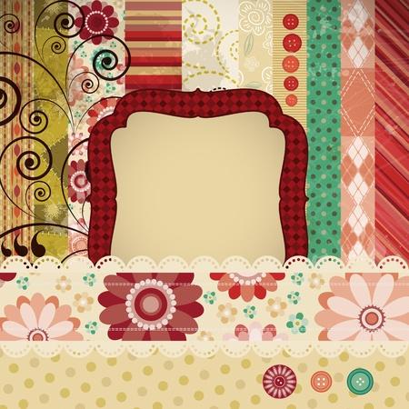 ferraille: Casse de fond r�alis�s dans la technique du patchwork classique avec des timbres floraux et des textes d'�criture.