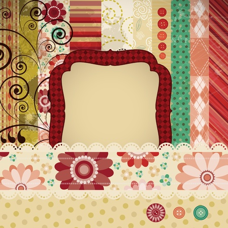 Scrap background made in the classic patchwork technique with floral stamps and handwriting text. Vector