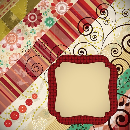 Scrap background made in the classic patchwork technique with floral stamps. Stock Vector - 9542185