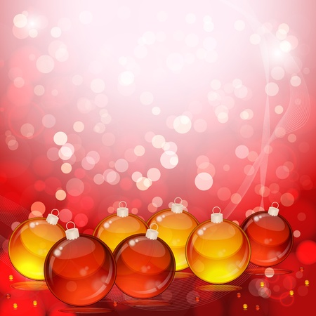 Christmas balls on abstract light background.  Stock Vector - 9542184
