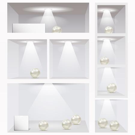 office cabinet: Expo shelves. Editable illustration.