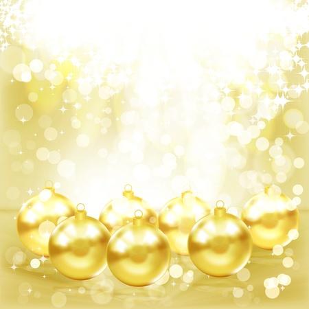 Golden Christmas balls. Stock Vector - 9542214