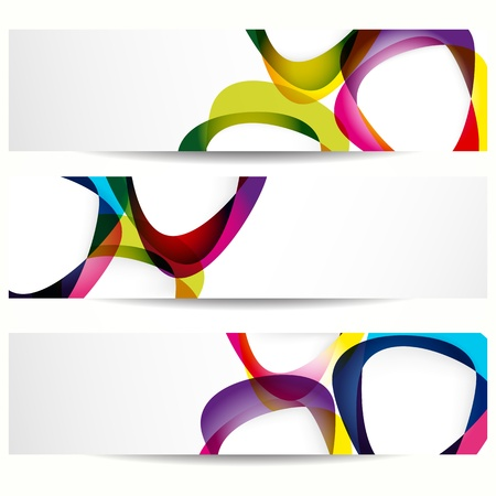 information design: Abstract banner with forms of empty frames for your web design. Illustration