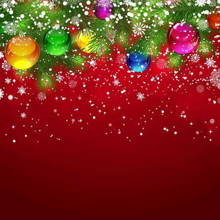 bauble: Christmas background with snow-covered branches of Christmas tree, decorated with garlands and balloons.