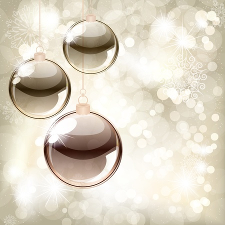 Christmas background with balls and place for your text  Vector