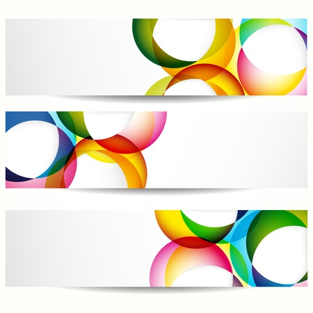 banner design: Abstract banner with forms of empty frames for your web design. Illustration