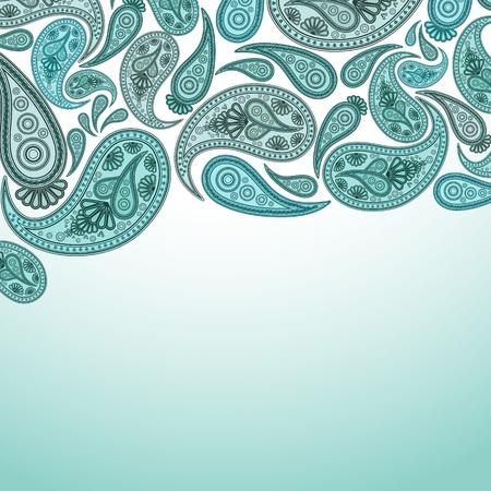 turquoise swirl: Paisley Oriental decor background. Vector illustration. Illustration