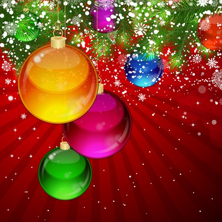 snowcovered: Christmas background with snow-covered branches of Christmas tree, decorated with garlands and balloons.