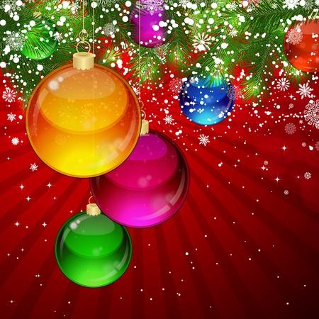 Kerstmis achtergrond met sneeuw bedekte takken van kerstboom, versierd met slingers en ballonnen. Vector Illustratie