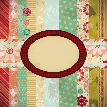 Scrap background made in the classic patchwork technique. Stock Vector - 9668633