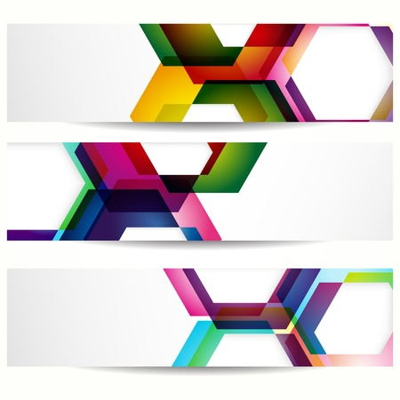 web design: Abstract banner with forms of empty frames for your web design. Illustration