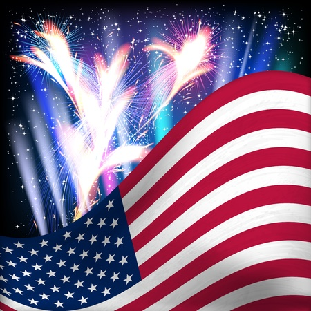 USA flag background. Fireworks in the night starry sky. Vector illustration. Çizim