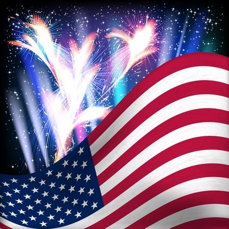 USA flag sfondo. Fuochi d'artificio nel cielo stellato notturno. Illustrazione vettoriale.