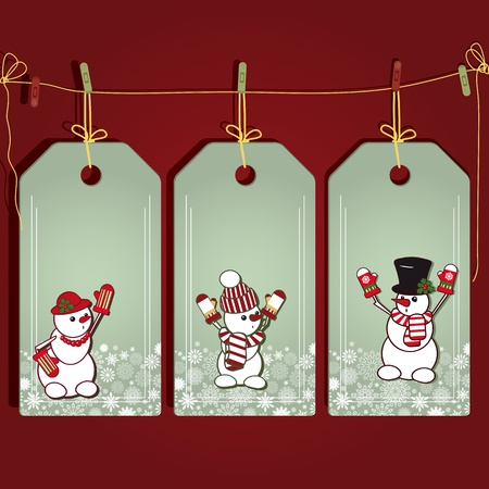 Christmas gift labels with elements of the Christmas decor. Vector
