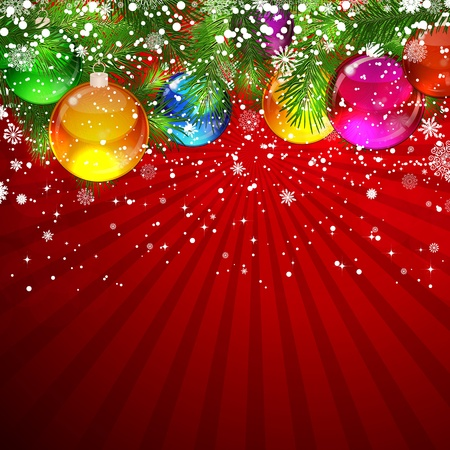 Christmas background with snow-covered Christmas tree decorated with glass balls Vector