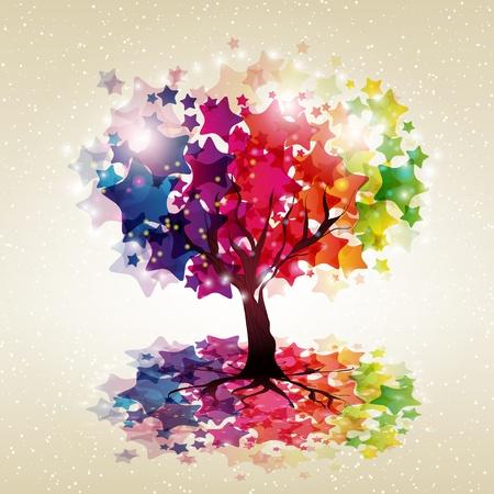 Fondo multicolor abstracto. Árbol con una corona de estrellas. Ilustración vectorial.