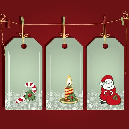 etiquetas de ropa: Etiquetas de regalo de Navidad con elementos de la decoraci�n de Navidad.