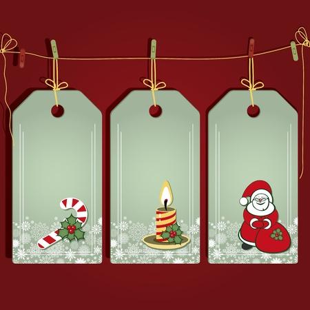 Kerst cadeau labels met elementen van de kerst decor.