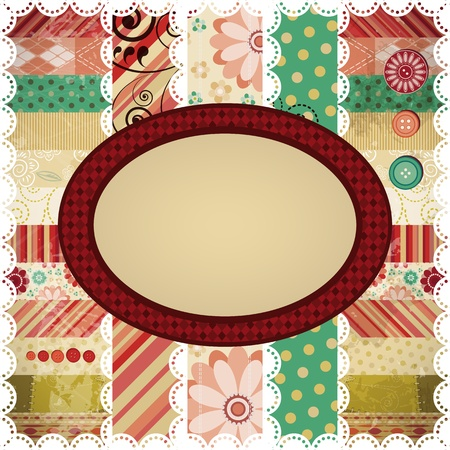 Scrap background made in the classic patchwork technique. Vector